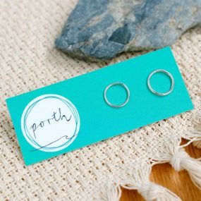 Pair Of Sterling Silver Circle Shaped Wire Studs By Porth Jewellery
