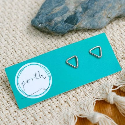 Pair of sterling silver triangle shaped wire studs by Porth Jewellery