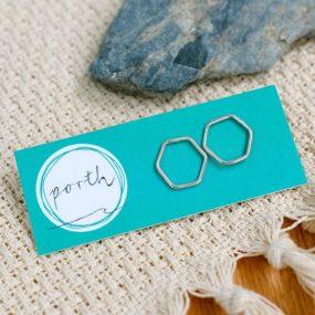Hexagon Wire Stud Earrings