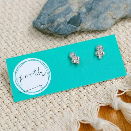Pair of sterling silver boho studs by Porth Jewellery