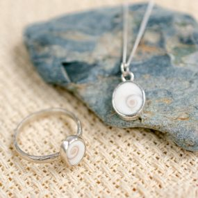 Matching sterling silver pendant and ring with Shiva shell setting by Porth Jewellery