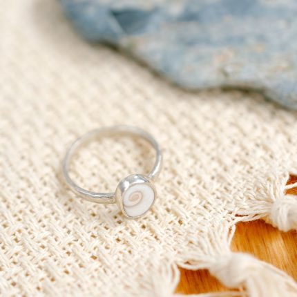 Sterling silver ring with a Shiva shell setting by Porth Jewellery
