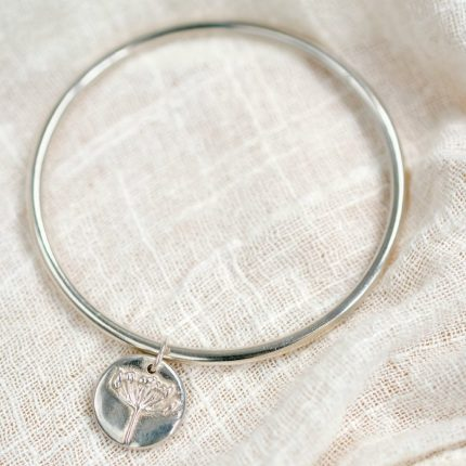 Bangle with Sterling Silver Agapanthus Flower Charm by Silver Sapling
