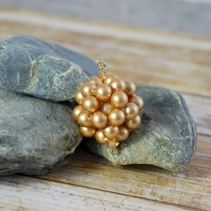 Vintage Gold beaded ball long length pendant made from Swarovski pearls by Article Jewellery