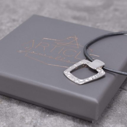 Tapered square textured silver pendant on leather necklace Article Jewellery with box