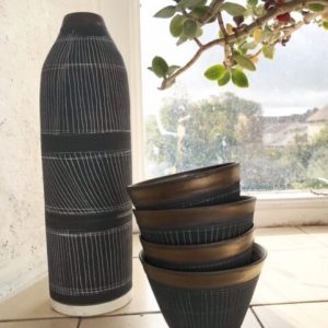 Sgraffito Black Porcelain Vase And Bowls Handcrafted By Sarah Cooling