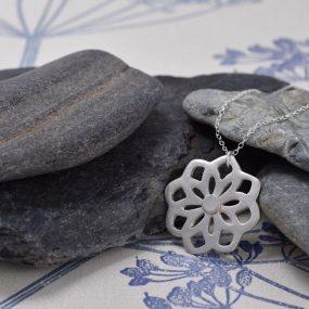 Silver Stencil Flower Pendant