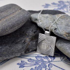 Silver Layered Square Pendant