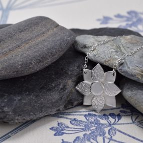 Silver Art Deco Flower Pendant