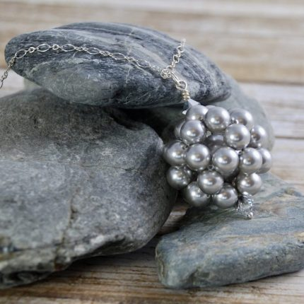 Light Grey beaded ball long length pendant made from Swarovski pearls by Article Jewellery