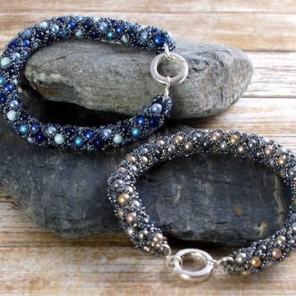 Beaded bracelets made from Swarovski pearls closed with a sterling silver clasp by Article Jewellery