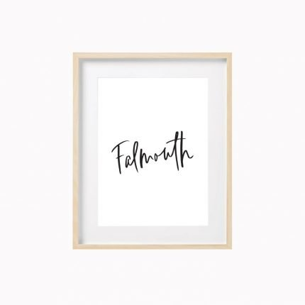 Falmouth contemporary black typography print by Scalet Paperie