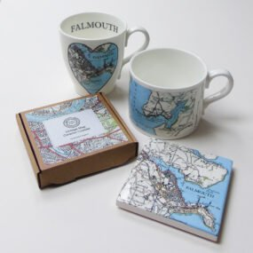 Coaster and two mugs printed with vintage Falmouth maps by Glorious Mud
