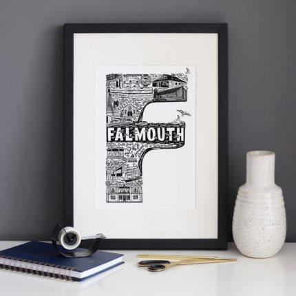 Black and white Falmouth typography framed print by Lucy Loves This