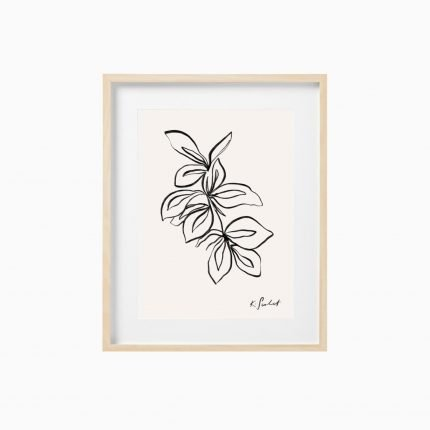 Floral contemporary black outline art print by Scalet Paperie