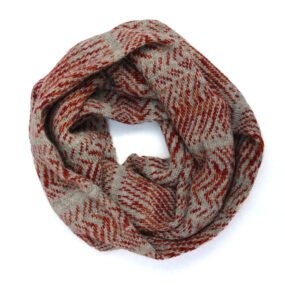 Loop scarf in beige and reds by Jessye Boulton