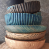 Stack Of Handcrafted Wooden Bowls By The Hide Studio
