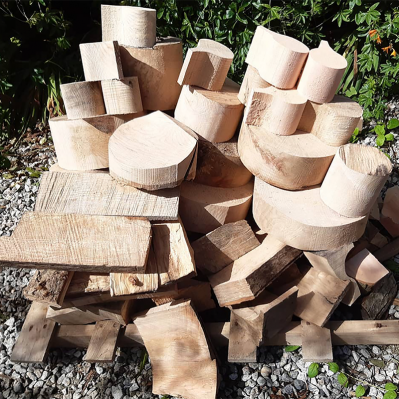 Wood Waiting To Be Turned Into Bowls By The Hide Studio