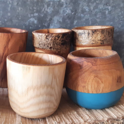 Selection of wooden vessels by The Hide Studio