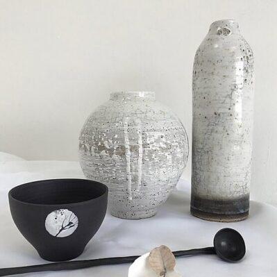 Stoneware Crackle Glaze Vases Handcrafted By Sarah Cooling