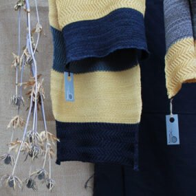 Group of handcrafted scarves by Cornish Knitwear designer Jessye Boulton