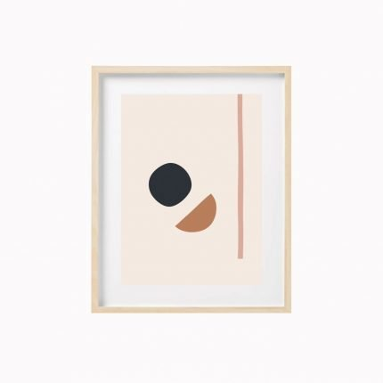 Sun and Moon contemporary blush and black print by Scalet Paperie