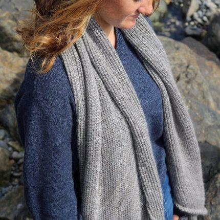 Large grey wrap/scarf with lattice texture by Jessye Boulton