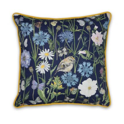 Navy Garden Print Cushion by Particle Press