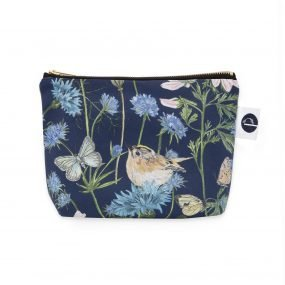 Navy Garden Print Makeup Bag by Particle Press
