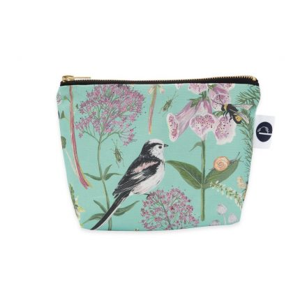 Turquoise Garden Print Makeup Bag by Particle Press
