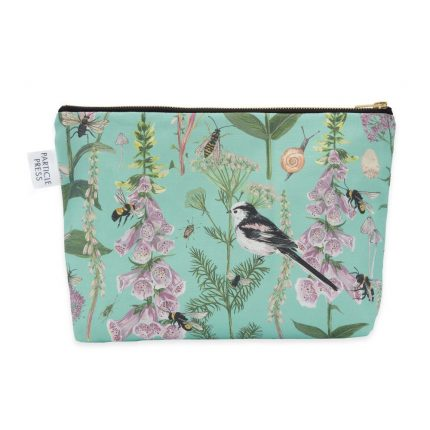 Turquoise Garden Print Washbag by Particle Press