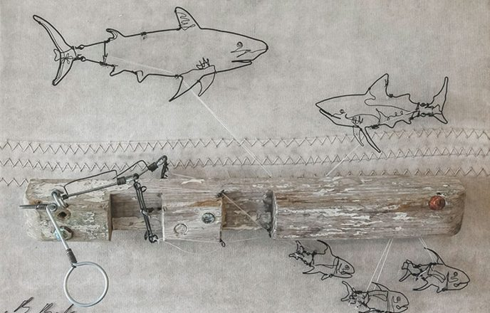 Sharks And Fishes Wire Sculpture - Ben Baker