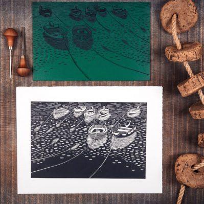 Rowing Boats Lino Print By Lino Lord Press