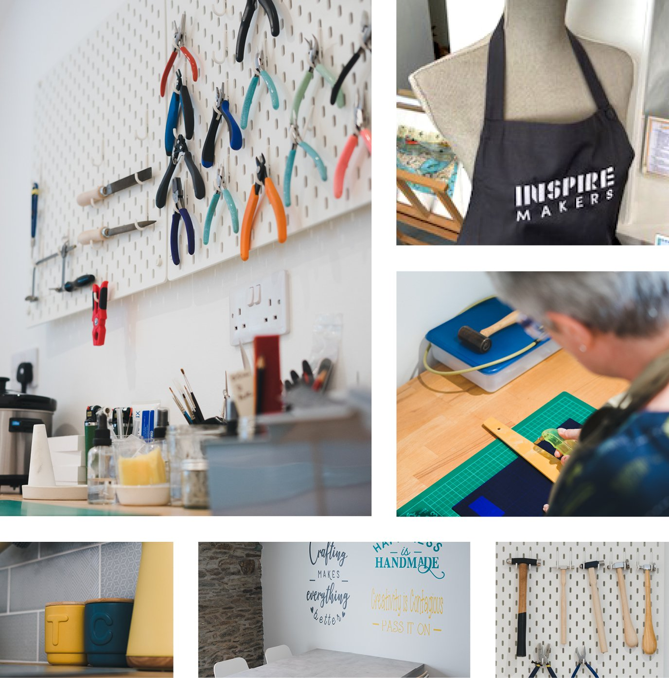 Montage of photos illustrating workshops at Inspire Makers