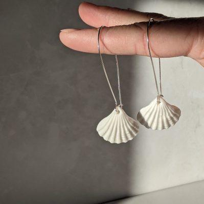 Porcelain Scallop Shell Hoop Earrings By Rach Richardson