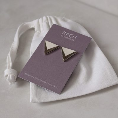 Porcelain Triangle Stud Earrings With Platinum Accent By Rach Richardson