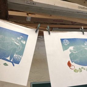 Lino Prints By Katie Godden Green On The Drying Line