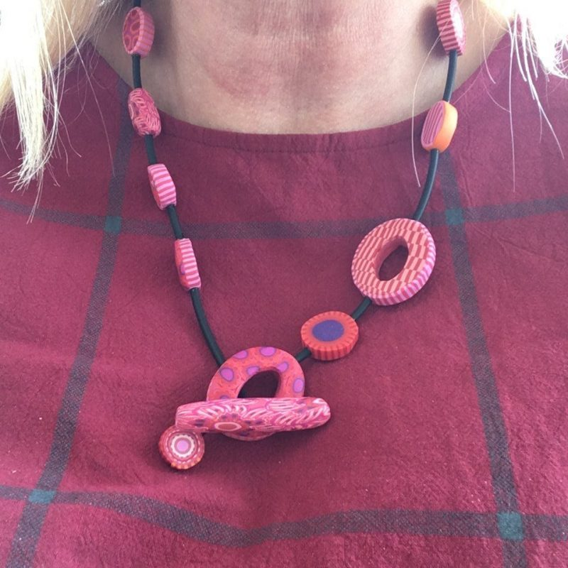 Pink Polymer Clay Necklace By Caroline Casswell