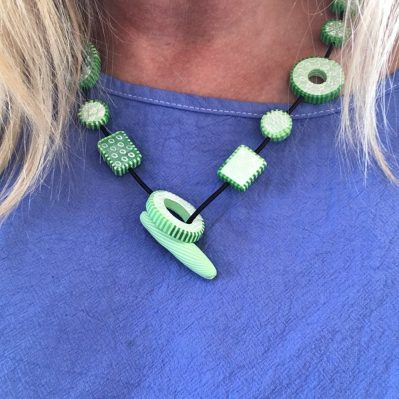 Green Polymer Clay Necklace By Caroline Casswell