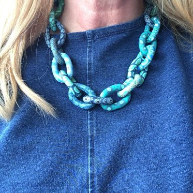 Blue Polymer Clay Necklace By Caroline Casswell