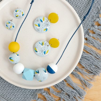 Blue and Yellow Flushing Wooden Bead Jewellery handpainted by Sea Pink Studio