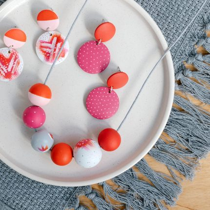 Red and Pink Mevagissy Wooden Bead Jewellery handpainted by Sea Pink Studio