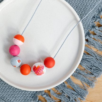 Arty Red and Pink Wooden Bead Necklace handpainted by Sea Pink Studio