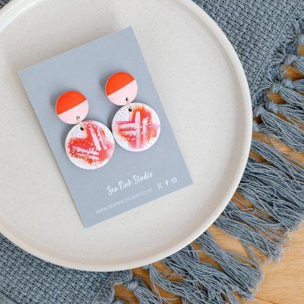 Floral Pink/Red Drop Stud Earrings handpainted by Sea Pink Studio