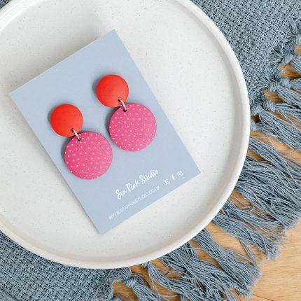 Red and Spotty Rose Drop Stud Earrings handpainted by Sea Pink Studio