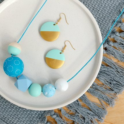 Blue St Ives wooden bead necklace and Mint Dip Hook Earrings handpainted by Sea Pink Studio