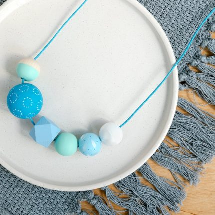 Blue St Ives wooden bead necklace handpainted by Sea Pink Studio