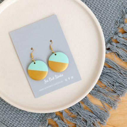 Wooden Mint with Gold Dip Hook Earrings handpainted by Sea Pink Studio