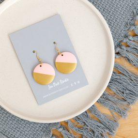 Wooden Rose With Gold Dip Hook Earrings Handpainted By Sea Pink Studio