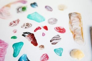 Close Up Of Lowenna Designs Watercolour Shells